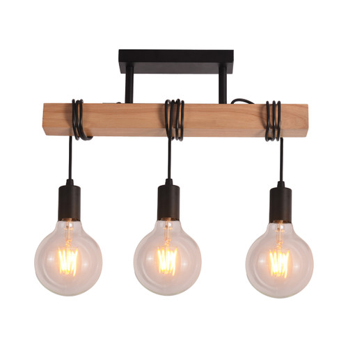 Tibery 3 Light Metal Wood Ceiling Light