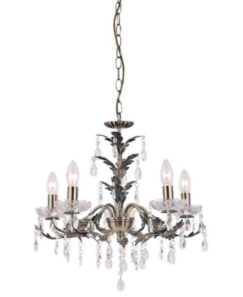 Michelle 5 Light Antique Brass Traditional Candle Chandelier