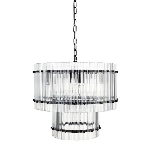 Paloma 2 Tier Black Clear Pendant Chandelier