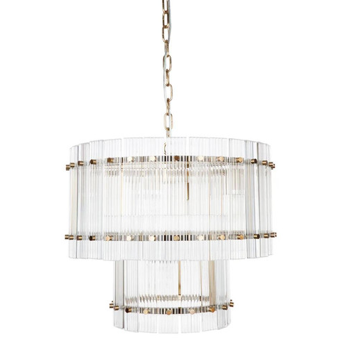 Paloma 2 Tier Brass Clear Pendant Chandelier