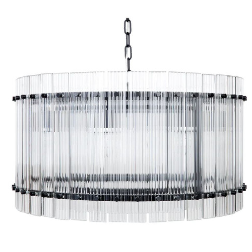 Paloma Drum Black Clear Pendant Chandelier