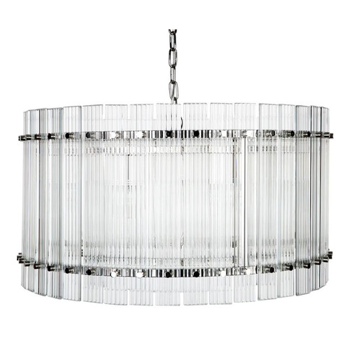 Paloma Drum Nickel Clear Pendant Chandelier