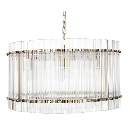 Paloma Drum Brass Clear Pendant Chandelier