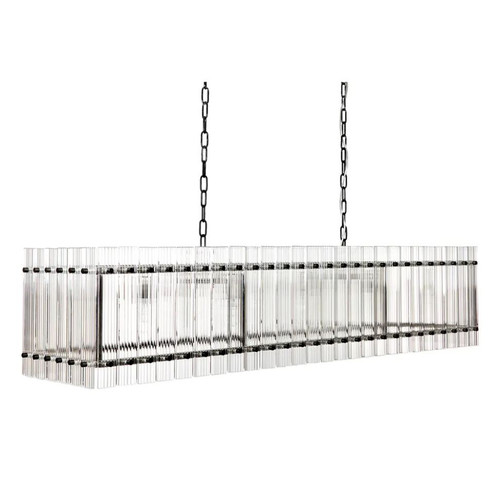 Paloma Linear Black Clear Pendant Chandelier