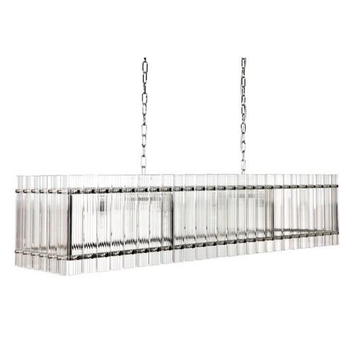 Paloma Linear Nickel Clear Pendant Chandelier