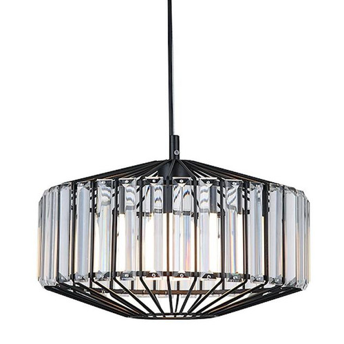 Cutler Matt Black Crystal Pendant Light