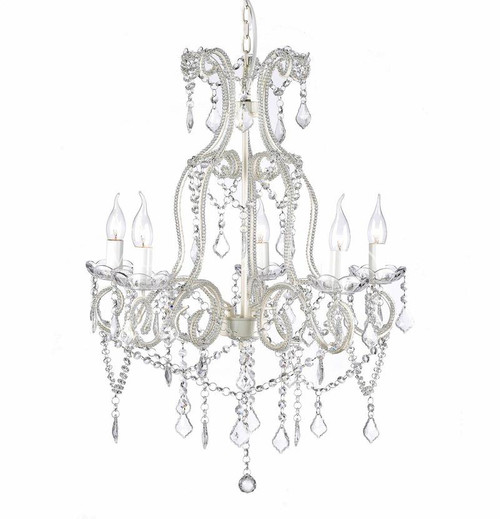 Destiny 5 Light White French Crystal Chandelier