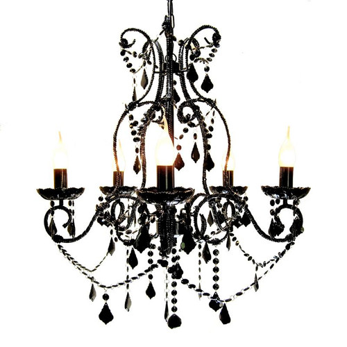 Destiny 5 Light Black French Crystal Chandelier