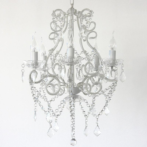 Florence 5 Light White French Crystal Chanderlier