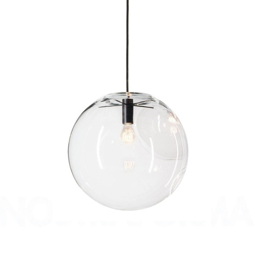 Adriana Round Pearl Black Glass Pendant Light