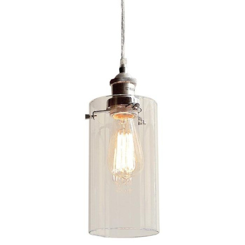 Aliyah Cylinder Chrome Glass Pendant Light