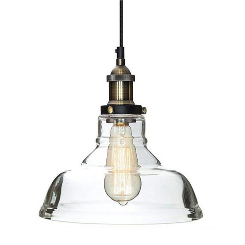 Nexus Cone Antique Brass Glass Pendant Light