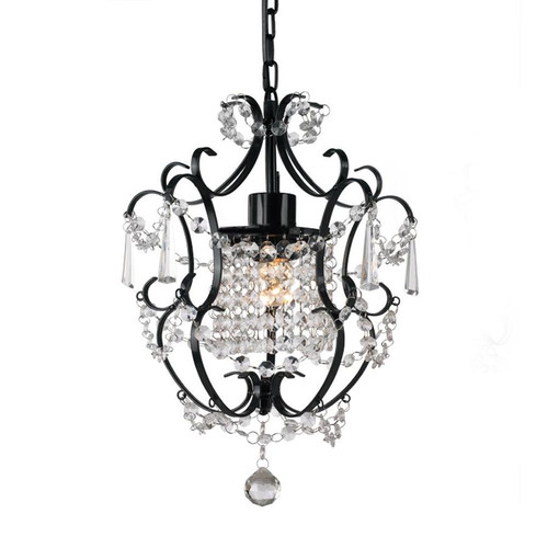 Zuri Matt Black Wrought Iron Crystral Pendant Chandelier