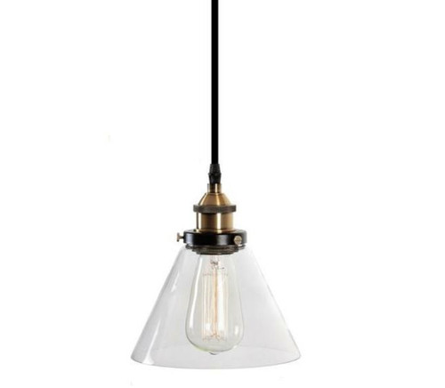 Sophia Cone Brass Glass Pendant Light