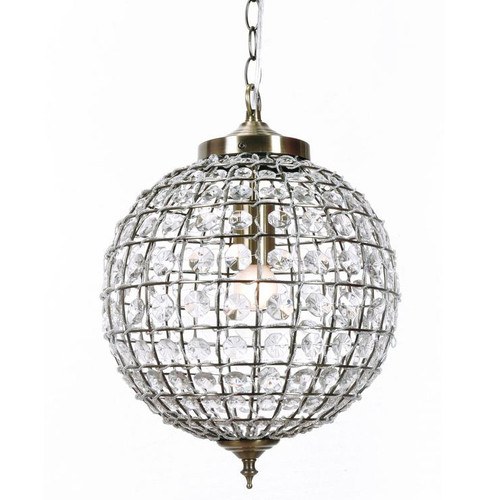 Chartres Round Ball Brass Crystal Pendant Chandelier