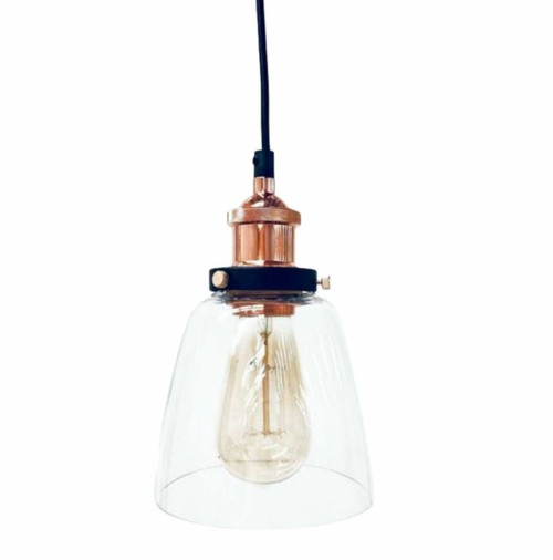 Macey Cone Copper Glass Pendant Light