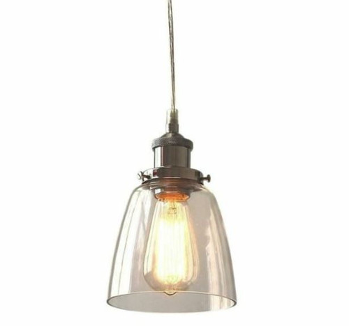 Macey Cone Chrome Glass Pendant Light