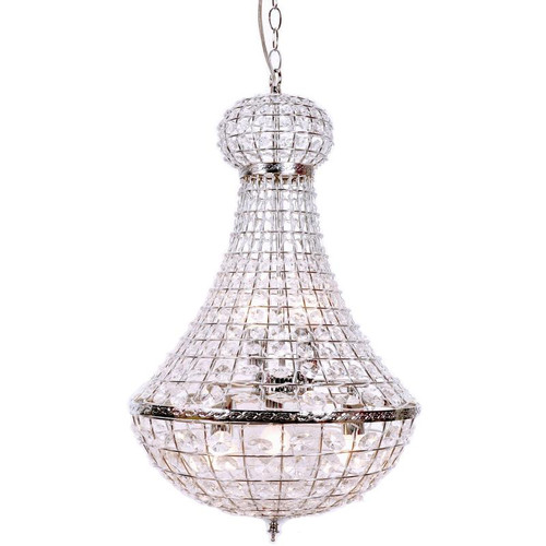 Prisila Empire Chrome Large Crystal Chandelier