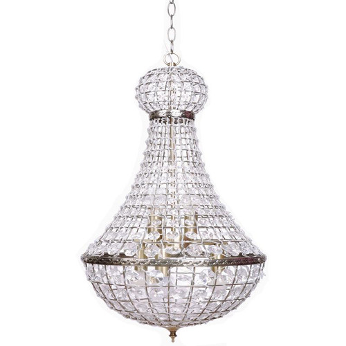 Prisila Empire Antique Brass Large Crystal Chandelier