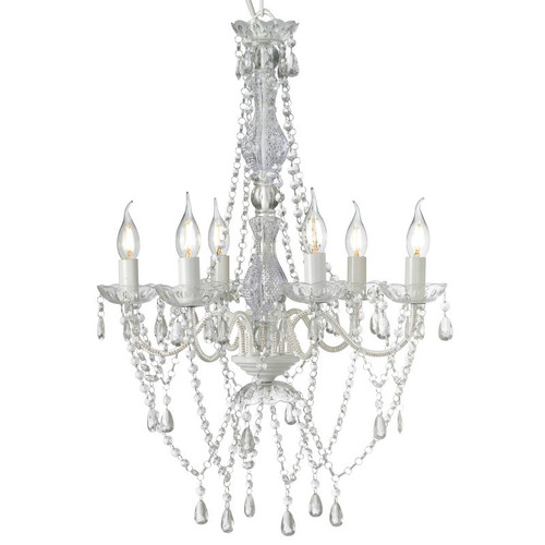 Rafaela 6 Light White Crystal Chandelier