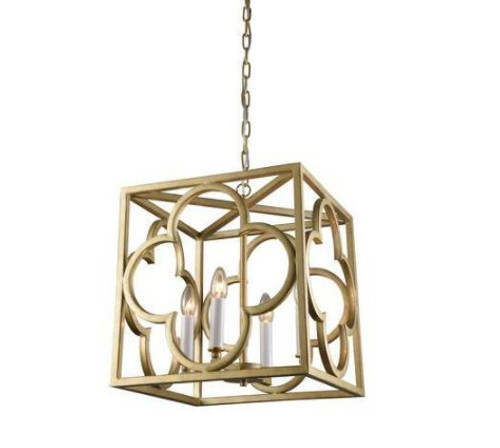 Bernice Box Frame Gold Lantern Pendant Light