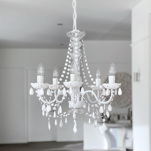 Cadence 5 Light French Provicial White Acrylic Crystal Chandelier