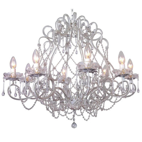 Lucia 8 Light French White Glass Pendant Chandelier