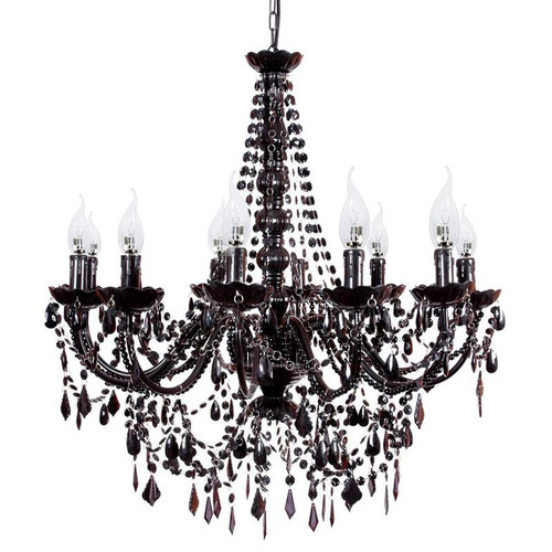 Cadence 12 Light French Provincial Black Acrylic Crystal Chandelier