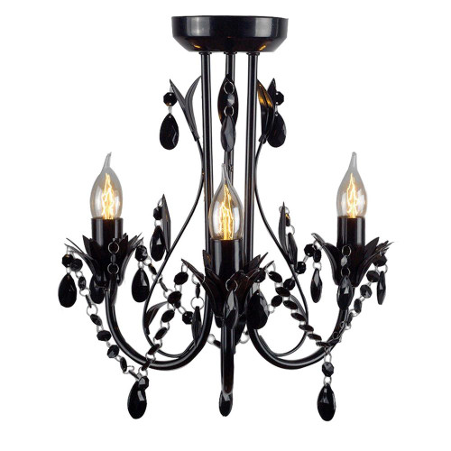 Harriet 3 Light Black Leaf Close to Ceiling Light