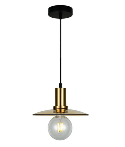 Ceske Disc Brass Amber Glass Pendant Light