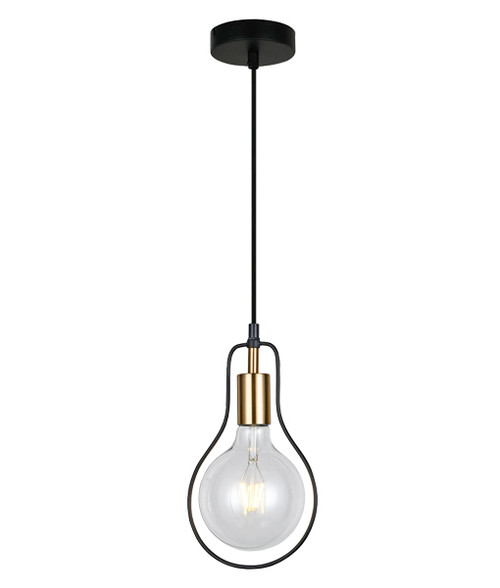 Karvina Pear Black Wire Industrial Pendant Light