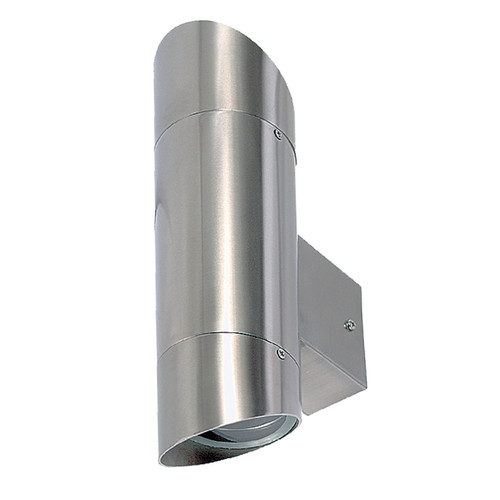 Tube Halogen Slant Edge Up/Down Outdoor Wall Light - Silver