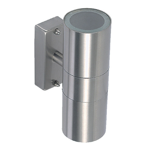 Tube Halogen Up/Down Outdoor Wall Light - Silver