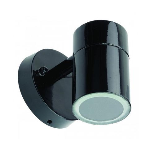Tube Halogen Single Outdoor Wall Light - Black