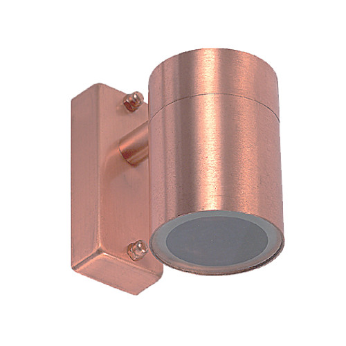 Tube Halogen Single Outdoor Wall Light - Copper