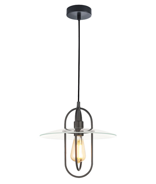 Hodonin Black Clear Glass Industrial Pendant Light