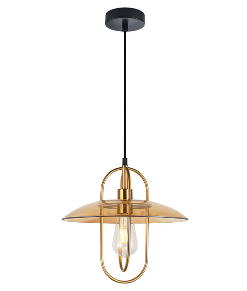 Hodonin Brass Amber Glass Industrial Pendant Light