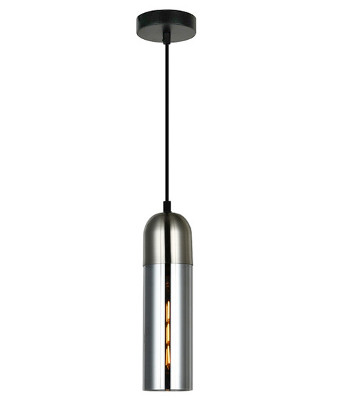 Prerov Cylinder Chrome Smoke Glass Pendant Light