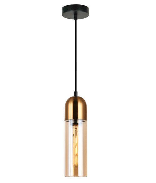 Prerov Cylinder Brass Amber Glass Pendant Light