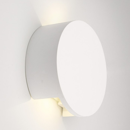 Round White Plaster LED Wall Light