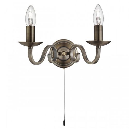 Emerson 2 Arm Antique Brass Wall Light