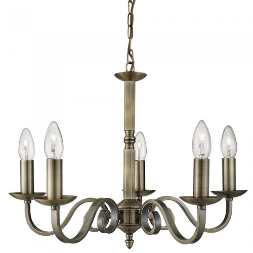 Emerson 5 Light Antique Brass Chandelier