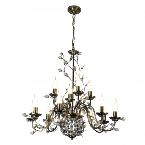 Crystal Leaf 12 Light Antique Brass Chandelier