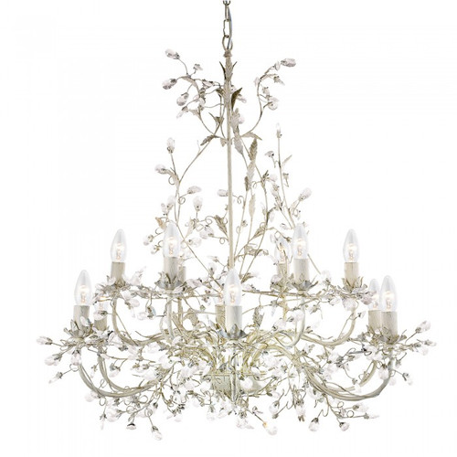 Jasmine 12 Light Cream Crystal Chandelier