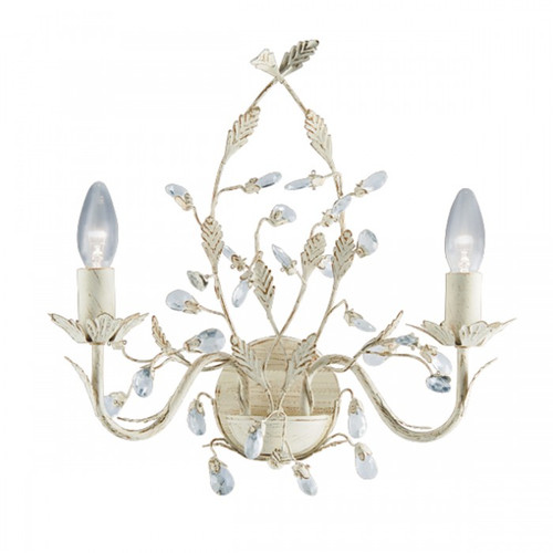Jasmine 2 Arm Cream Crystal Wall Light