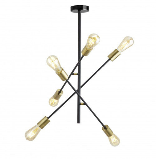 Alvie 6 Light Black Gold Industrial Pendant Light