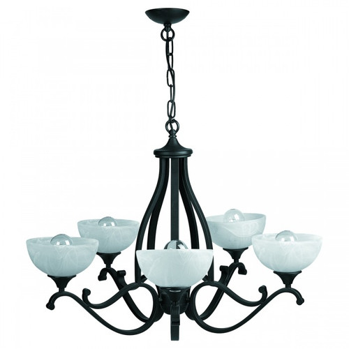 Ignacia 5 Light Alabaster Glass Chandelier