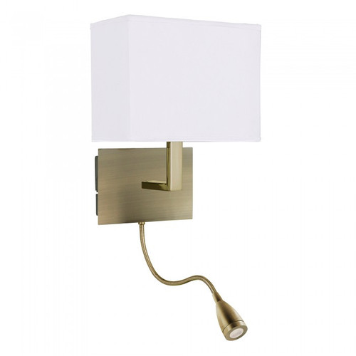 Maddox Antique Brass LED with Flexi Spotlight Wall Light