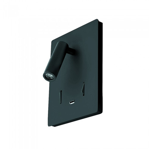Aura Square Black Spot Bedside Wall Light