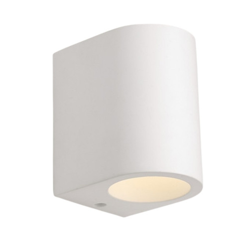 Half Cylindrical White Plaster Up and Down Wall Light